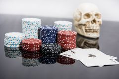 Casino abstract photo. Poker game on red background.  Theme of gambling stock photo