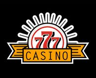 Casino 777 advertising banner isolated on white background. Place where you can test your luck and get profit. Spend money by gambling and win more. Gaming vector illustration