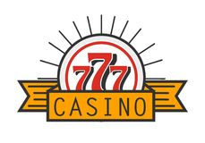 Casino 777 advertising banner isolated on white background. Place where you can test your luck and get profit. Spend money by gambling and win more. Gaming royalty free illustration