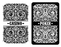 Casino advertising design. Design of advertising of a casino with the ornamented playing cards vector illustration