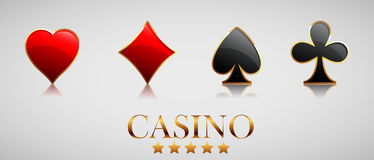 Casino advertising design. With playing cards stock illustration