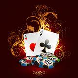 Casino advertising design. With a playing cards royalty free illustration