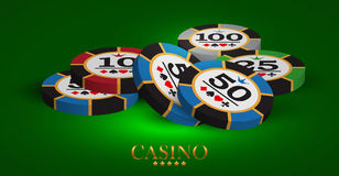 Casino advertising design. With a playing chips vector illustration