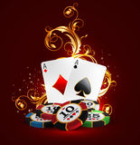 Casino advertising design. With a playing chips and cards vector illustration