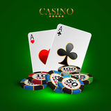 Casino advertising design. With a playing chips and cards royalty free illustration