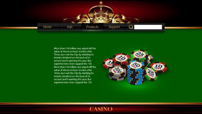 Casino advertising design. With a playing chipss royalty free illustration