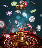 Casino advertising with roulette and elements of casino games on a blue background. 3D vector. High detailed realistic. Casino advertising design with a tape stock illustration