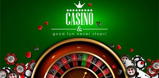 Casino advertising with roulette and elements of casino games on a green background. 3D vector. High detailed realistic. Casino advertising design with a tape vector illustration