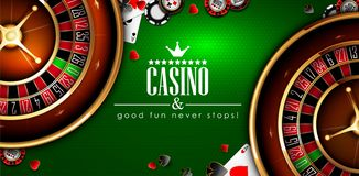 Casino advertising with roulette and elements of casino games on a green background. 3D vector. High detailed realistic. Casino advertising design with a tape royalty free illustration