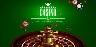 Casino advertising with roulette and elements of casino games on a green background. 3D vector. High detailed realistic. Casino advertising design with a tape stock illustration