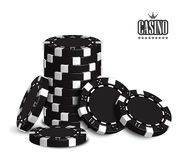 Casino advertising with a set of playing chips on a white background. 3D vector. High detailed realistic illustration. Casino advertising design with a set of stock illustration
