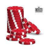 Casino advertising with a set of playing chips on a white background. 3D vector. High detailed realistic illustration. Casino advertising design with a set of vector illustration