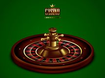 Casino advertising with tape measure on a green background. 3D vector. High detailed realistic illustration. Roulette Casino on the background of green baize. 3D stock illustration