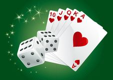 Casino background. Casino dices and  cards on green rays background. There are no meshes in this image Royalty Free Stock Photography