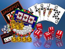 Casino Background. An illustrated background with a design of various casino elements like cards, slot machine and dices stock illustration