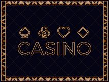 Casino background with art deco frame and card suits. Design a template for invitations, leaflets and greeting cards. The style of the 1920s - 1930s. Vector Royalty Free Stock Image
