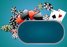 Casino background. Blue poker background with chips, dice and cards Royalty Free Stock Photo