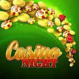 Casino background with chips, craps and money Stock Photos