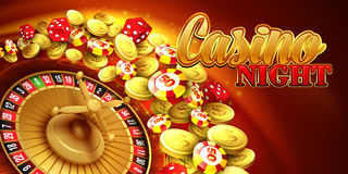 Casino background with chips, craps and roulette Stock Photos