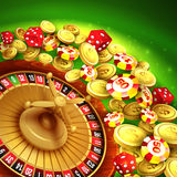 Casino background with chips, craps and roulette Royalty Free Stock Photography