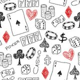 Casino background. Doodle seamless background texture illustration - casino concepts with poker, dice and gambling Royalty Free Stock Image
