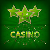 Casino background with green stars and ornate pattern Stock Photo