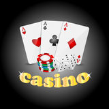 Casino background. Items for the casino on a dark background Stock Images