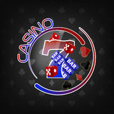 Casino background with lucky seven symbol and gaming elements Stock Photo