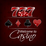 Casino background with lucky seven symbol and gaming elements Royalty Free Stock Image