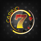 Casino background with lucky seven symbol and gaming elements Royalty Free Stock Images