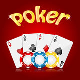 Casino background. Playing cards and poker chips on a red  background.casino background Royalty Free Stock Photography