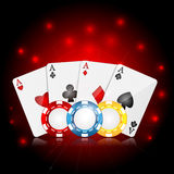 Casino background. Playing cards and poker chips on a red sparkling  background.casino background Stock Photo