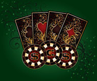 Casino background with poker elements Royalty Free Stock Images