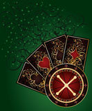 Casino background with roulette and poker cards Royalty Free Stock Photography
