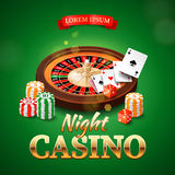 Casino background with roulette wheel, chips, game cards and dice Stock Photos