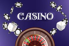 Casino background roulette wheel with dice and chips. Online casino poker table concept design. Top view of white dice stock illustration