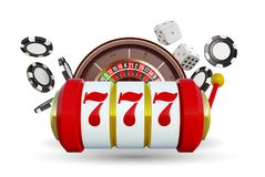Casino background roulette wheel with playing cards, dice and chips. Online casino poker big win design. Slot machine. With lucky sevens jackpot. Casino sign royalty free illustration