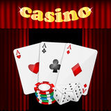 Casino background. Set of objects for a casino on a background of red drapes Royalty Free Stock Image