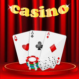 Casino background. Set of objects for a casino on a background of red drapes Stock Images