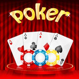Casino background. Set of objects for a casino on a background of red drapes Stock Photography