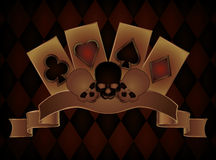Casino background with skulls and poker cards Stock Photos