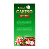 Casino background. Vertical banner, flyer, brochure on a casino theme with roulette wheel, game cards and chips Stock Photos