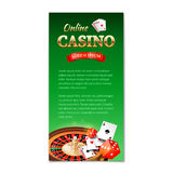 Casino background. Vertical banner, flyer, brochure on a casino theme with roulette wheel, game cards and dice Royalty Free Stock Photos