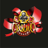 The casino badge with suits from jewels in a gold. Frame and red tapes on a black background vector illustration
