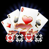 Casino banner. With cards, chips and 777 royalty free illustration