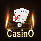 Casino Banner. Cards dice and chips on a dark background. vector illustration