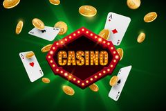 Casino banner with falling gold coins and aces on abstract green background. Vector design royalty free illustration