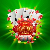 Casino banner in a frame on background. Casino banner in a frame on a luminous bright background . Vector illustration Stock Image