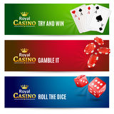 Casino banner gambling set. Poker roulette.  Stock Images