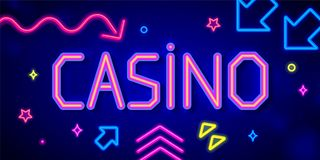 Casino banner with neon letters and arrows Stock Images